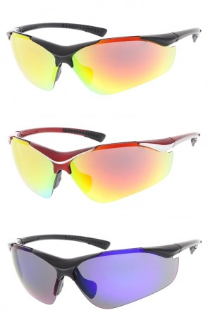 TR-90 Semi Rimless Sports Wrap Wholesale Sunglasses Colored Mirror Lens