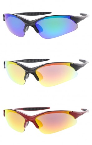 Wrap TR-90 Sports Wholesale Sunglasses Colored Mirror Lens