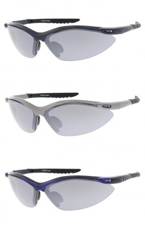 Semi Rimless TR-90 Active Sport Wrap Wholesale Sunglasses Smoke Lens