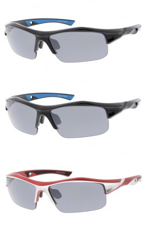 Semi Rimless TR-90 Wrap Sports Wholesale Sunglasses Rectangle Lens