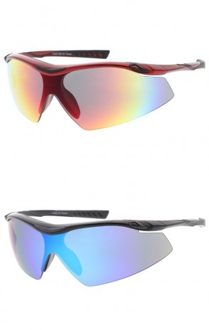 Shield Sports Wrap Wholesale Sunglasses Colored Mirror Lens
