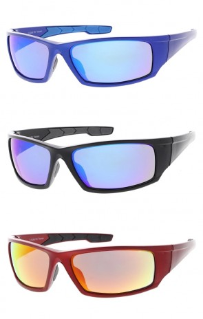 TR-90 Sports Wrap Rectangle Wholesale Sunglasses Colored Mirror Lens