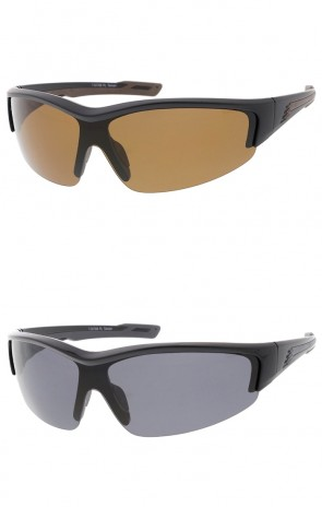 TR-90 Semi Rimless Sports Wrap Wholesale Sunglasses Shield Lens