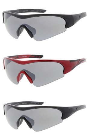 TR-90 Semi Rimless Sports Wrap Wholesale Sunglasses Neutral Colored Lens