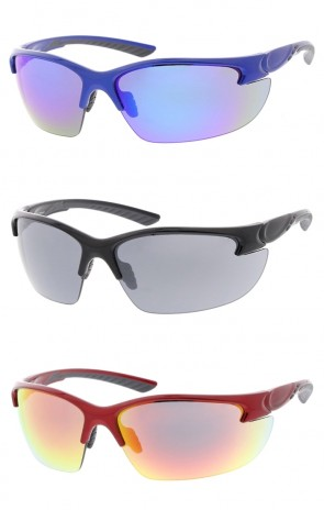 Semi Rimless TR-90 Sports Wrap Wholesale Sunglasses Neutral Colored Lens
