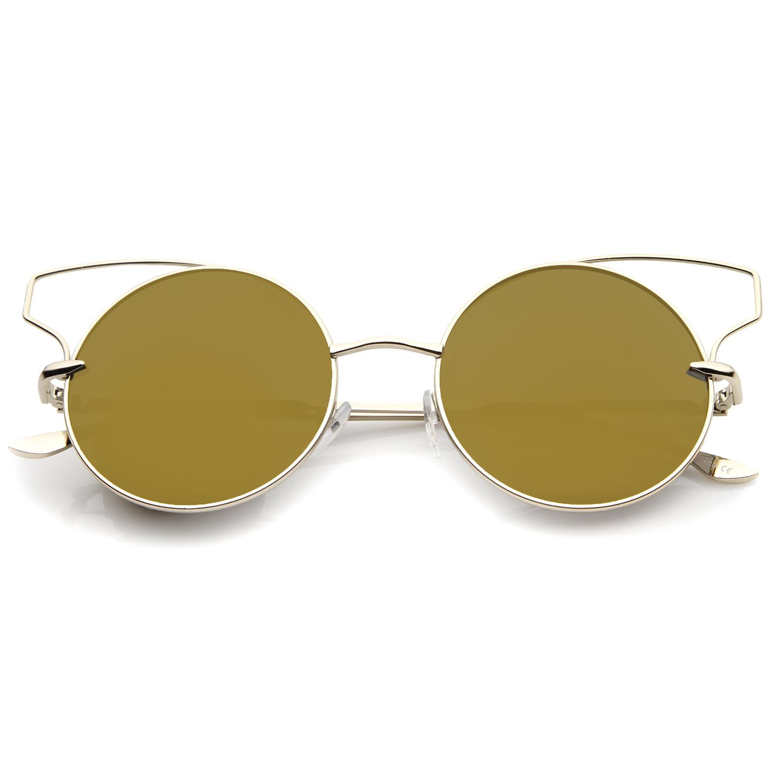 sunglass.LA Wire Open Metal Frame Color Mirror Lens Round Cat Eye ...