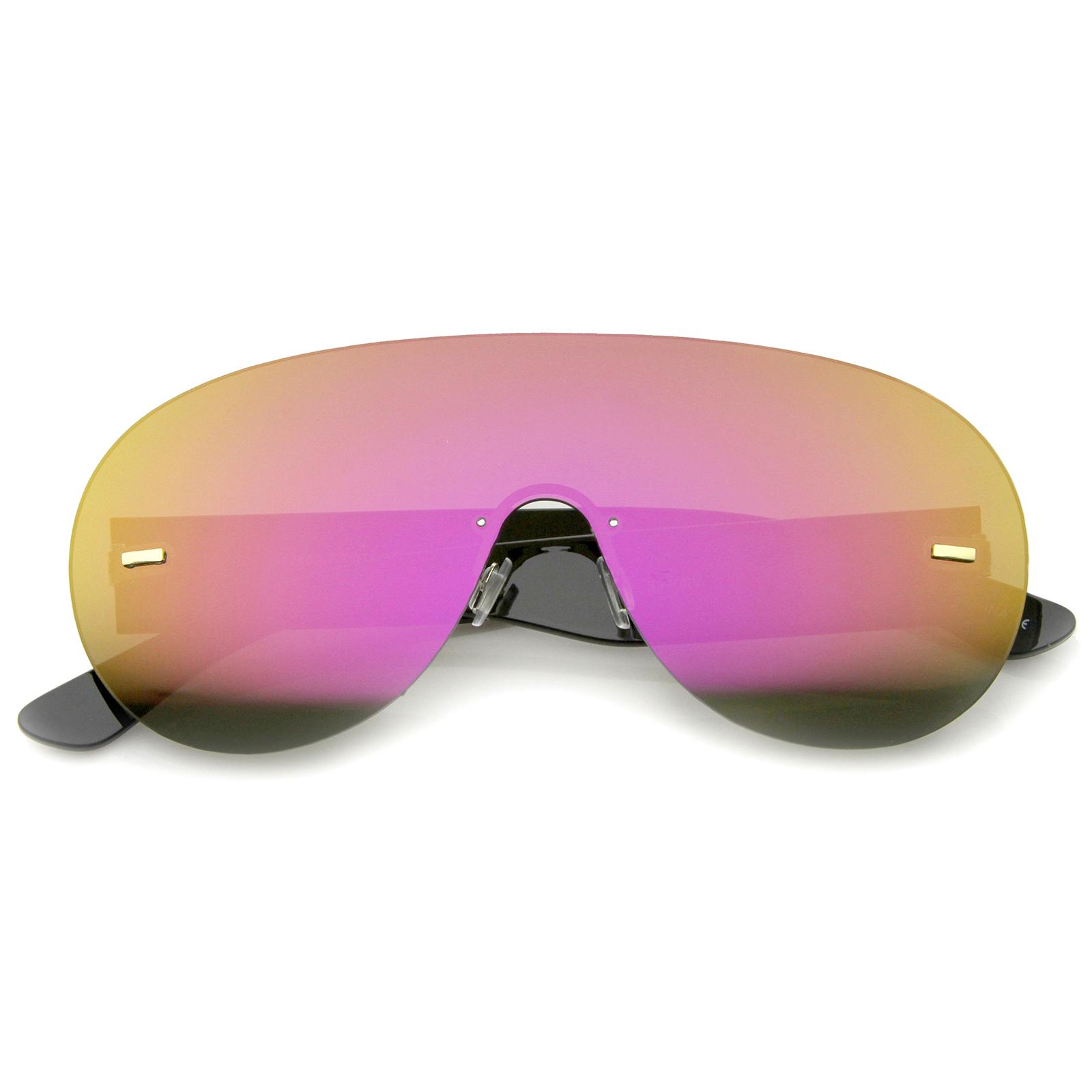 sunglass.la futuristas Sin Montura Marco Mono lentes aviador Shield ...
