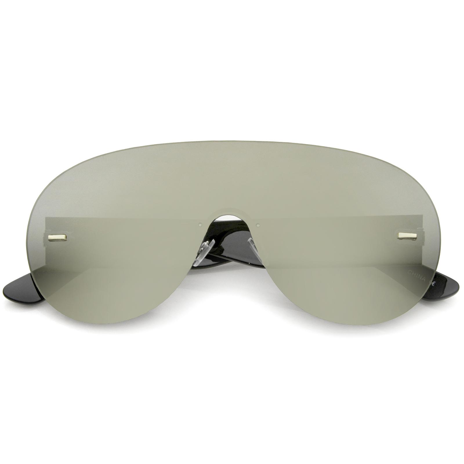 Futuristas sin Montura Marco Mono Lentes Aviador Shield Gafas de Sol ...