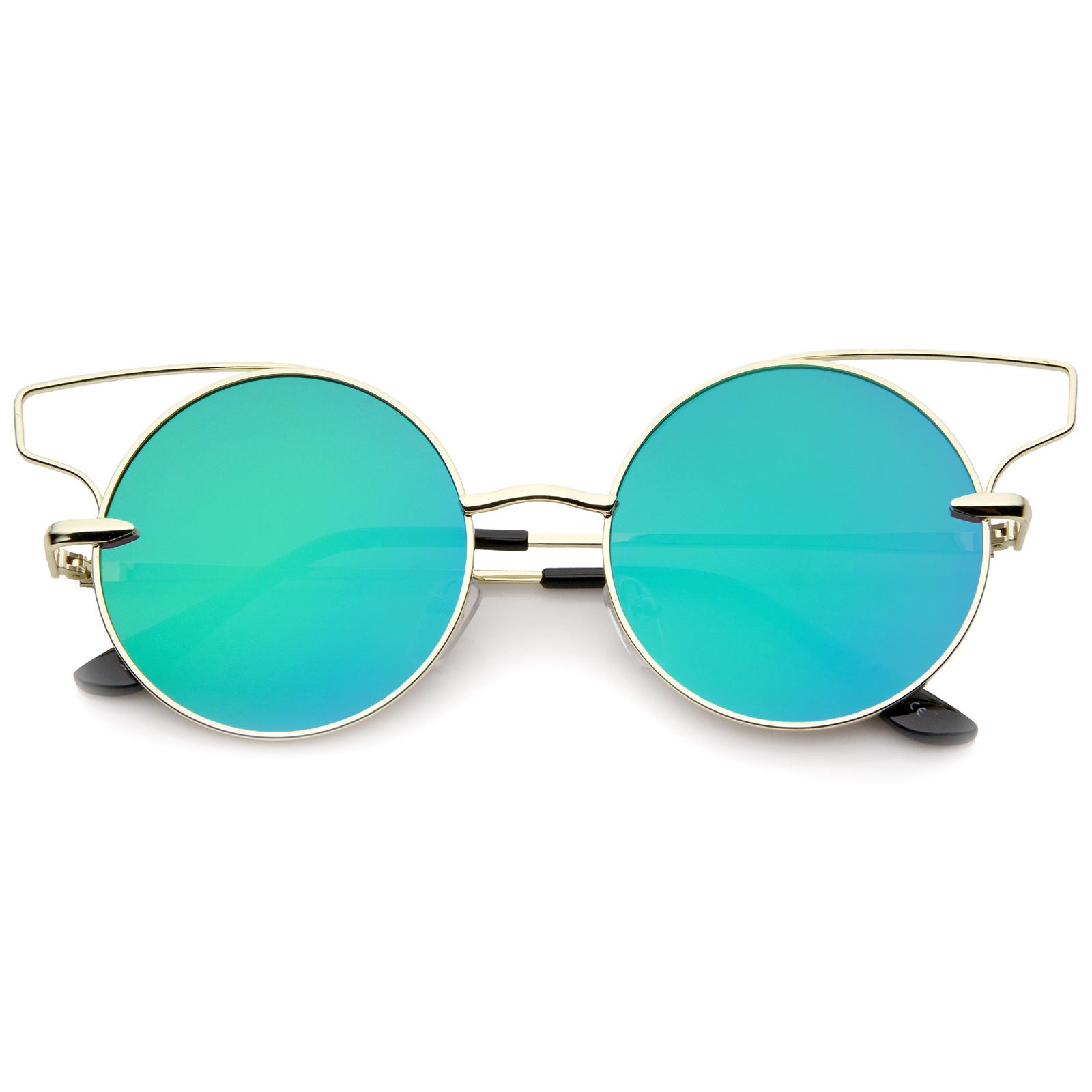 sunglassLA Women\'s Wire Frame Color Mirror Flat Lens Round Cat Eye ...