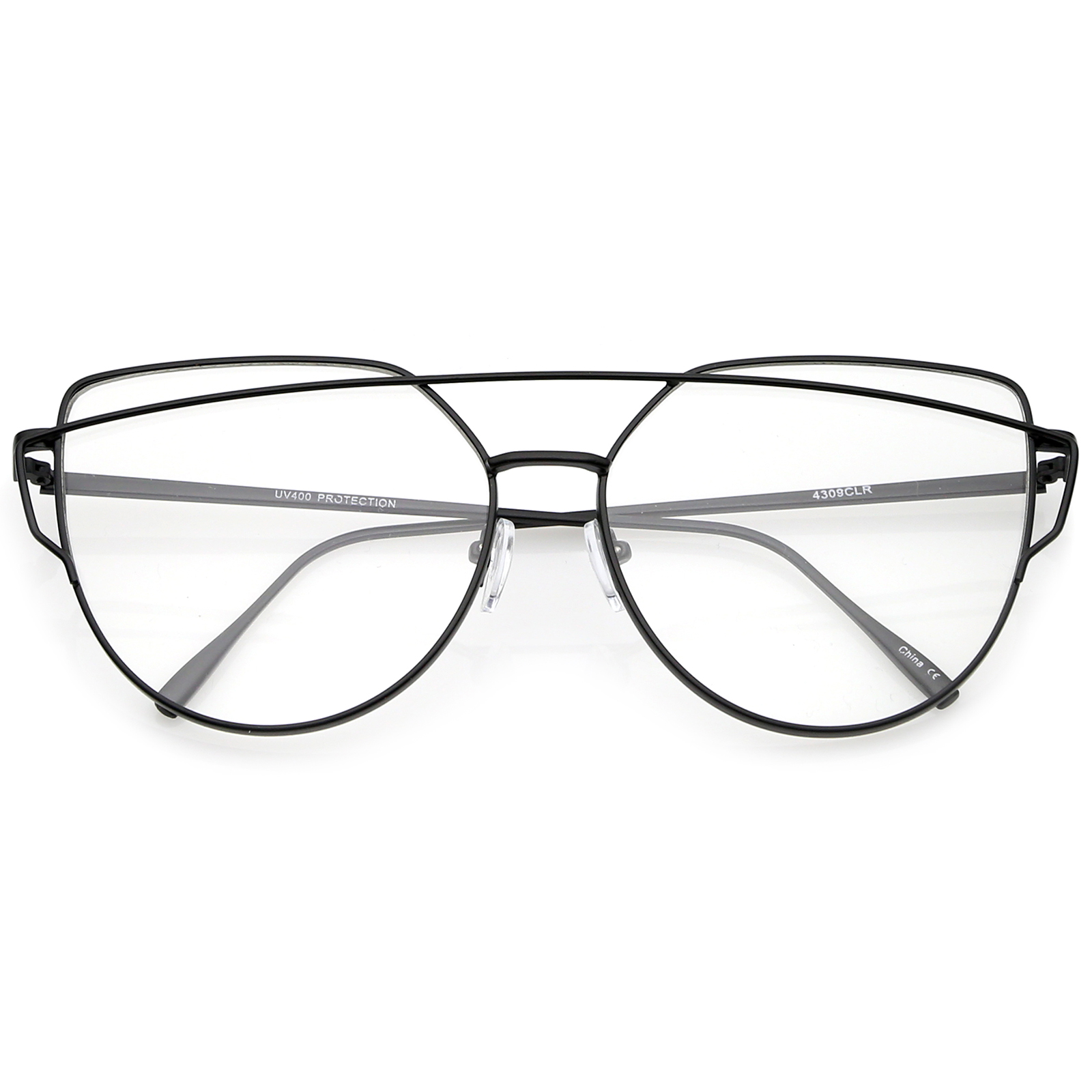 Sunglassla Oversize Metal Frame Thin Temple Clear Flat Lens Aviator ...