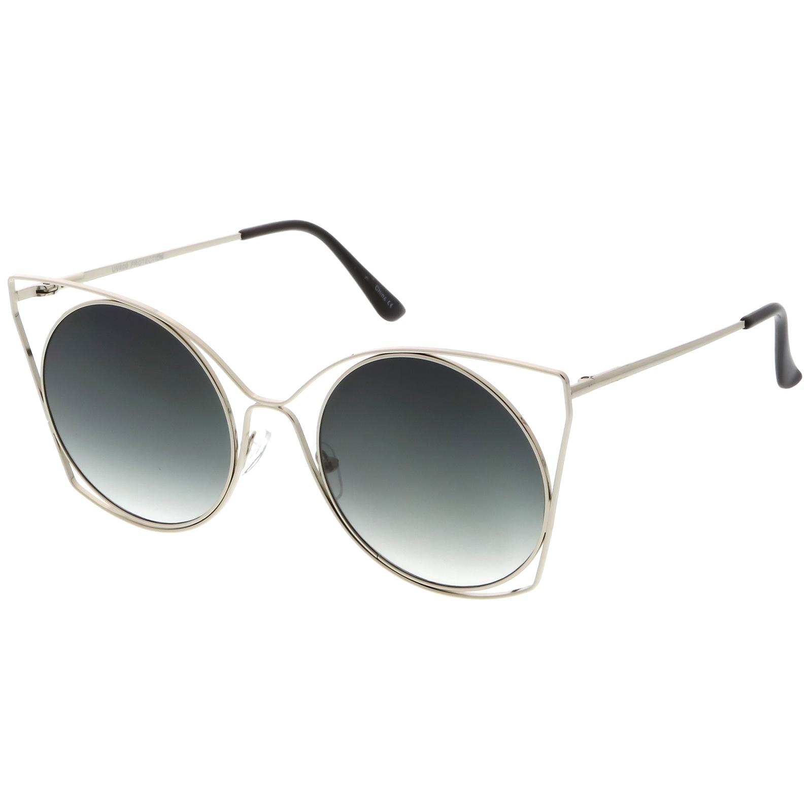 sunglassla überdimensional offen Metall Cat Eye Sonnenbrille Ultra flaches Glas PqiPH5