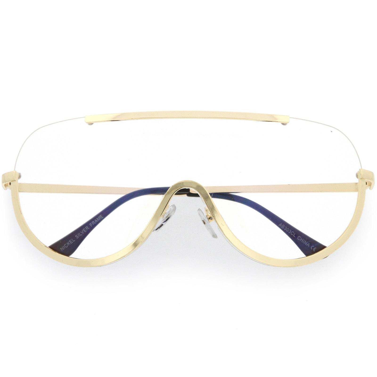 sugnlassla Grande Semi Montura Al Aire gafas borde metálico CLARO ...